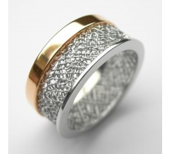 Platinnetz Ring mit Rotgold-Band