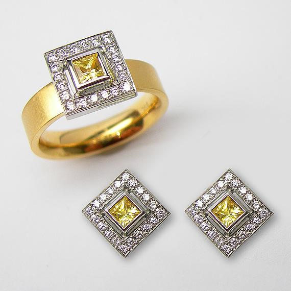 Gelbgold Ring & Ohrstecker mit Platinfassung, Saphir und Brillanten