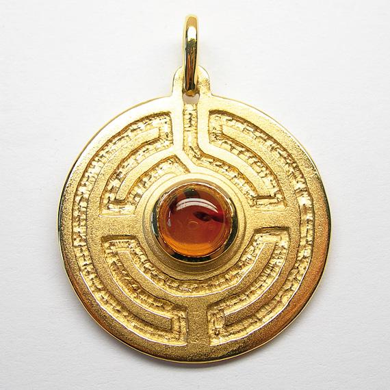 Rosengarten-Amulett Silber gelb-vergoldet mit Bernstein
