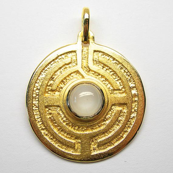 Rosengarten-Amulett Silber gelb-vergoldet mit Mondstein