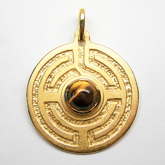 Rosengarten-Amulett Silber gelb-vergoldet mit Tigerauge