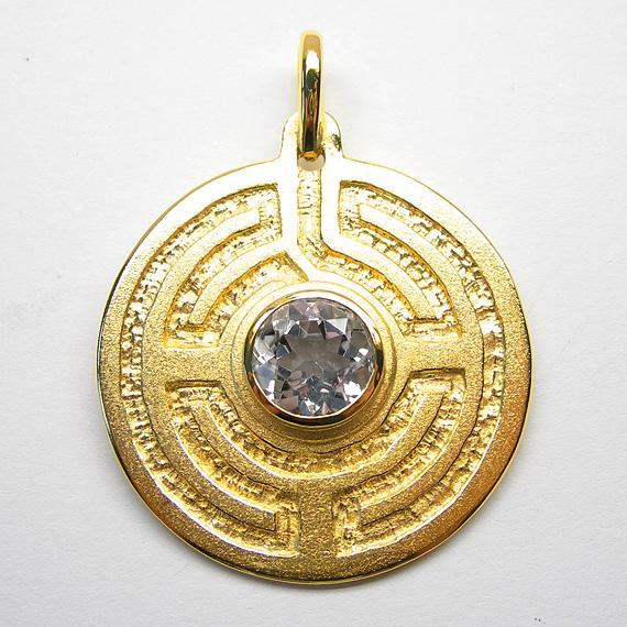 Rosengarten-Amulett Silber gelb-vergoldet mit Bergkristall