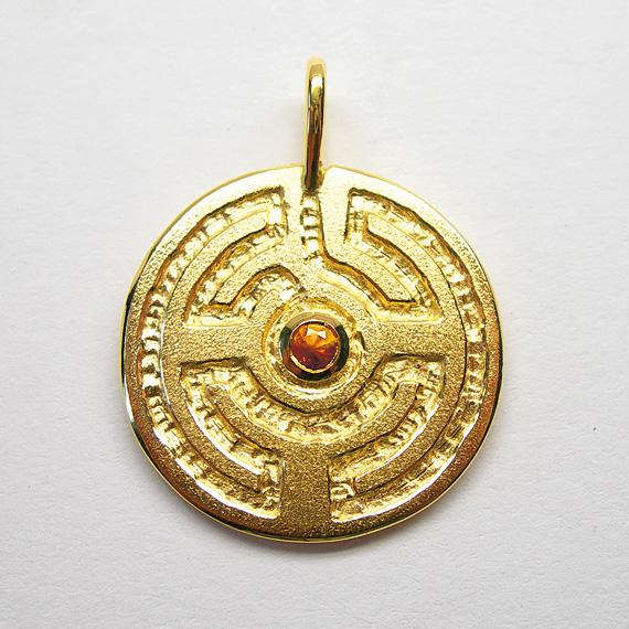 Rosengarten-Amulett Silber gelb-vergoldet mit Citrin (facettiert)