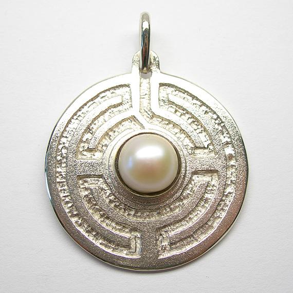 Rosengarten-Amulett Silber mit Süßwasser-Zuchtperle