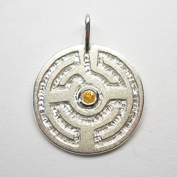 Rosengarten-Amulett Silber mit Citrin (facettiert)