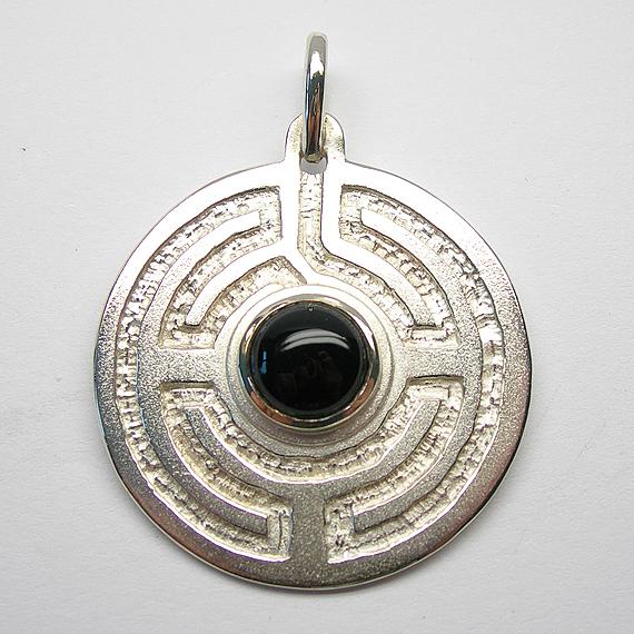Rosengarten-Amulett Silber mit Onyx
