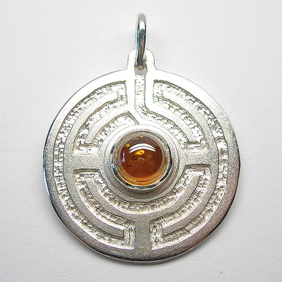 Rosengarten-Amulett Silber mit Bernstein