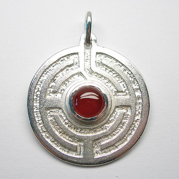 Rosengarten-Amulett Silber mit Carneol