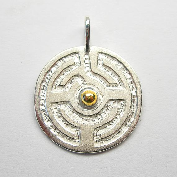 Rosengarten-Amulett Silber mit Gelbgold-Kugel