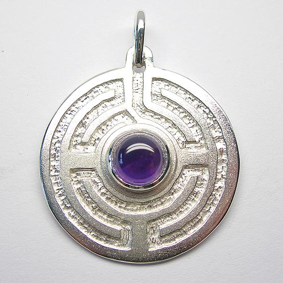 Rosengarten-Amulett Silber mit Amethyst