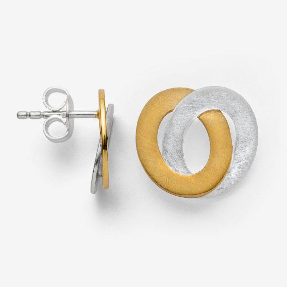 Ohrstecker aus Silber gelb-teilvergoldet seidenmatt