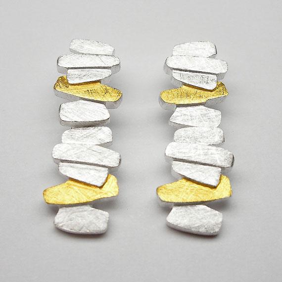 Ohrstecker aus Silber gelb-teilvergoldet im Stäbchendesign
