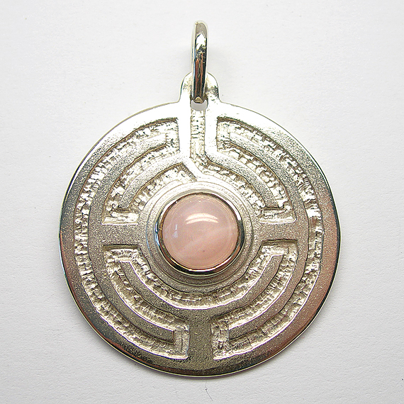 Rosengarten-Amulett Silber mit Rosenquarz