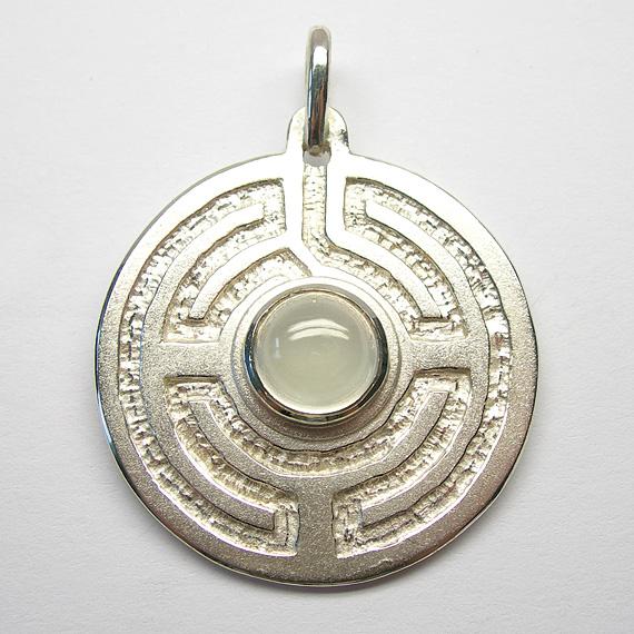 Rosengarten-Amulett Silber mit Mondstein
