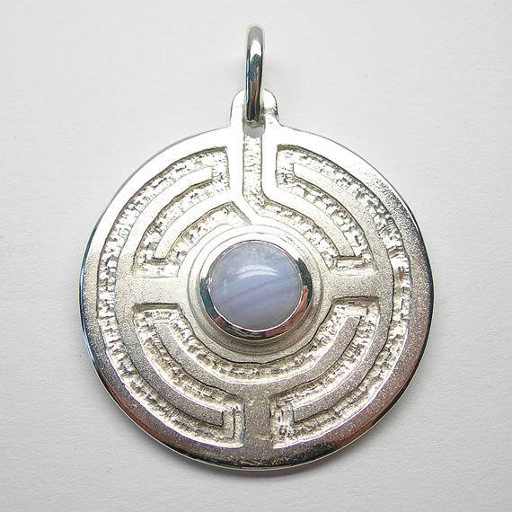 Rosengarten-Amulett Silber mit Calchedon