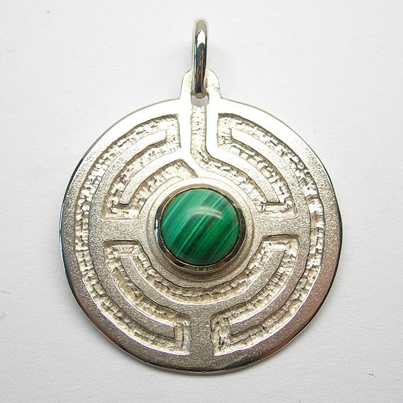 Rosengarten-Amulett Silber mit Malachit