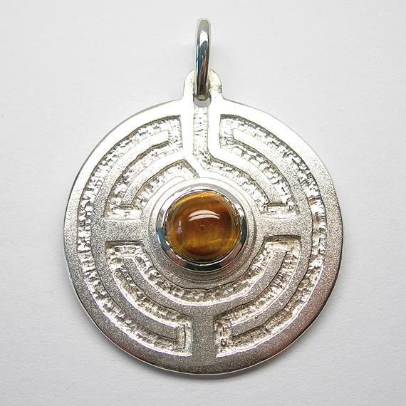 Rosengarten-Amulett Silber mit Tigerauge