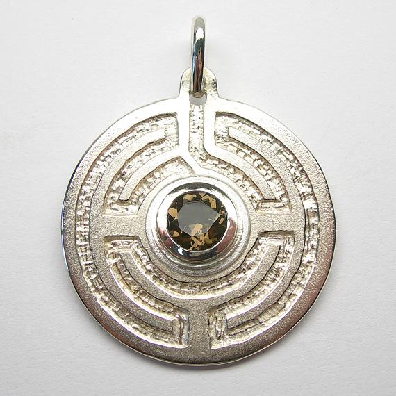 Rosengarten-Amulett Silber mit Rauchquarz