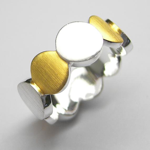 Silberring / Schmuckring gelb-teilvergoldet