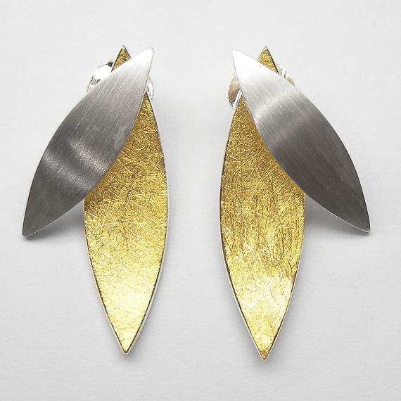 Ohrstecker aus Silber gelb-teilvergoldet im Blätterdesign