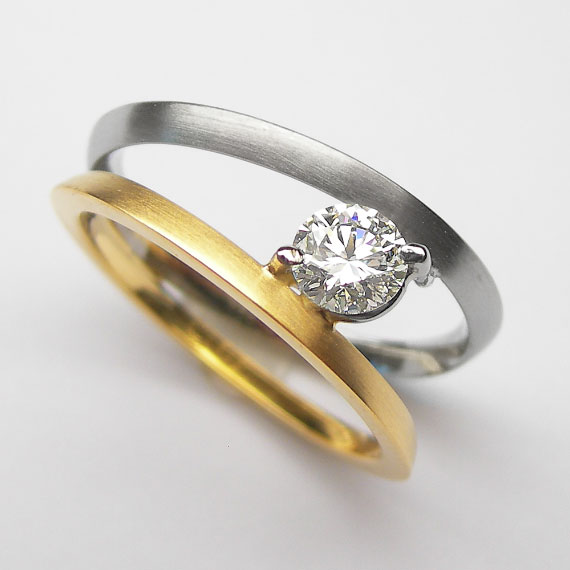 Gelbgold/Platin Ring mit Brillant