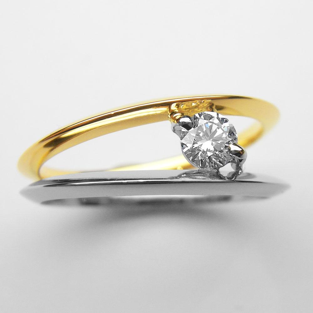 Platin-Gelbgold Ring mit Brillant