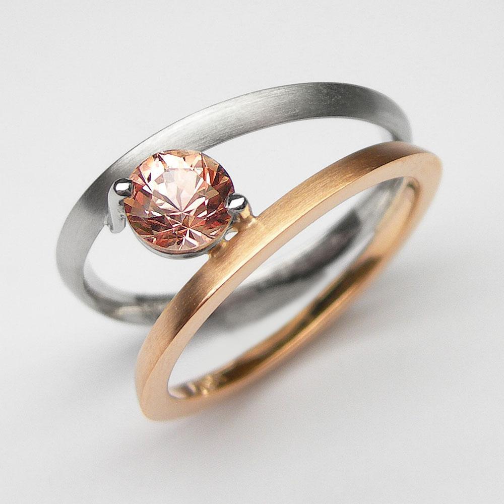 Rotgold-Platin Ring mit Saphir