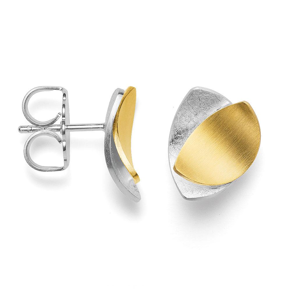 Silber Ohrstecker teilvergoldet